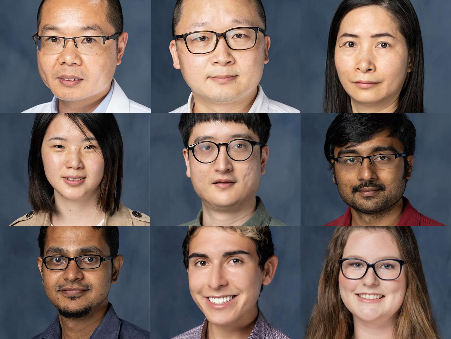 A collage of nine lab members, from left to right, top to bottom - Dr. Zhixing Wu, Peiyi Zhang, Wanyi Hu, Yi Liu, Yufeng Xiao, Pratik Pal, Saikat Poddar, Matthew Burke, and Alexis Smith.