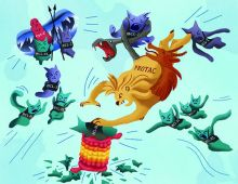The illustration depicts a chimera labeled PROTAC attacking small, aggressive looking caricatures of labeled BCL-XL and BCL-2. The chimera has a lion head roaring as he crushes a BCL-XL creature beneath his paw, a snake head constricting around a BCL-2 creature, and finally a goat head with his mouth open and tongue out as if mid-yell. In the upper left corner, a BCL-XL and BCL-2 creature hold crossed spears in front of a red, smiling creature labeled Cyst-C.